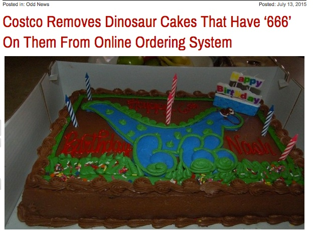 Claim Costco Removed A Dinosaur Cake Design From Their Online Ordering Options Because Customer Complained That It Bore Hidden Demonic Symbol