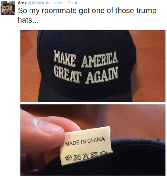"a52cc34cde4 While the above-displayed image does show a ""Make America Great Again"" cap  that was manufactured in China"